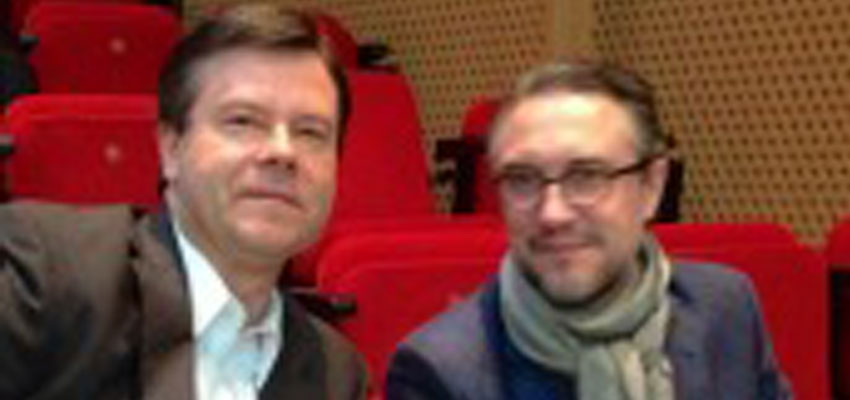 Panelists Alex Counts of the Grameen Foundation (left) & Danone's Jean-Christophe Laugée (right)