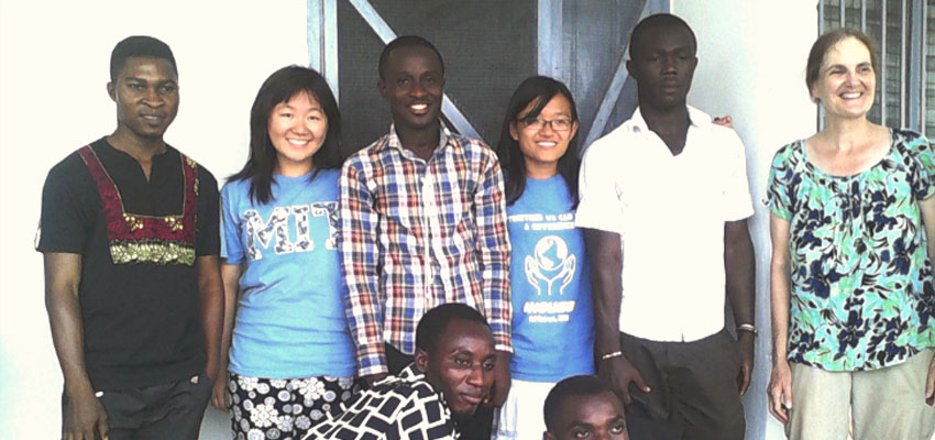 "MIT students Coyin Oh ('15) and Yiping Xing ('15), together with the Tamale, Ghana University of Development Studies sanitation club students, plus Susan Murcott. Coyin's and Yiping's team ""Hope in Flight"" won a 2013 IDEAS award for their sanitation solution to turn human waste into animal protein."