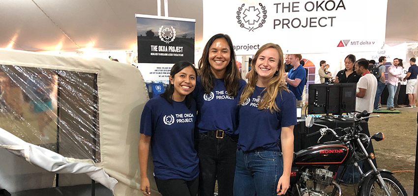 Left to Right: Sade Nabahe, Emily Young, and Eva Boal of Okoa Project at the MIT Delta V Demo Day, 2018.