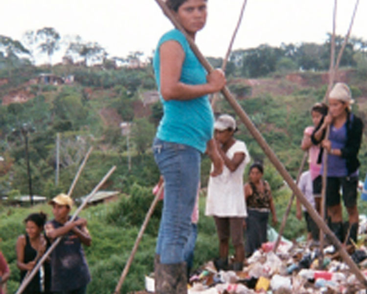 Waste pickers from the women's recycling cooperative Luz Del Futuro at a dumpsite in Bluefields, Nicaragua.