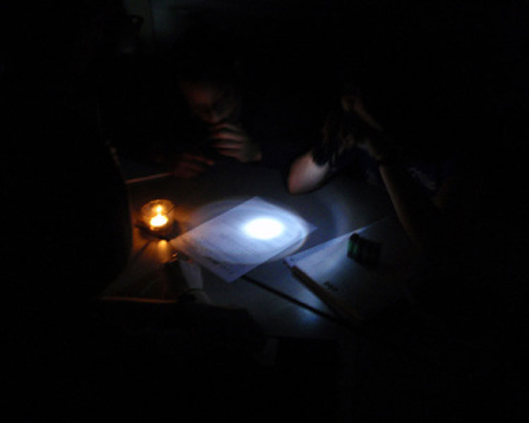 We then allowed the students to use hand-pumped flashlights. That made things a whole lot easier, although it wasn't nearly as easy as typical MIT task lighting associated with quizzes.