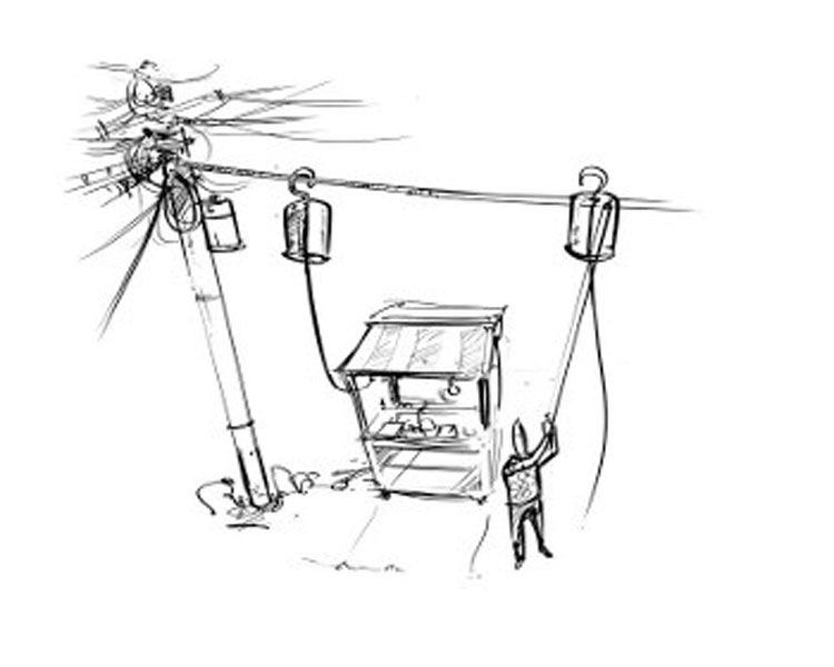 "Stealing electricity ""safely"". Drawing: Nathan Cooke"