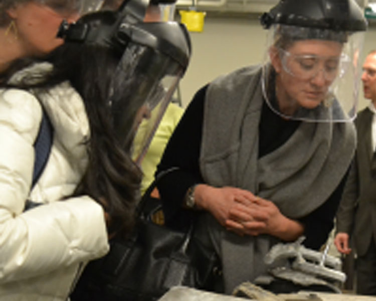 PIA members observe the casting process at the MIT Foundry