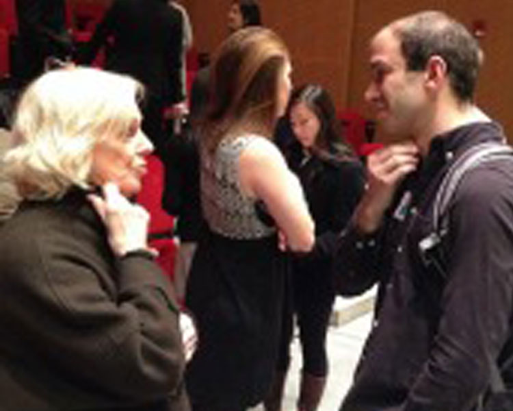 Guest speaker Nancy Wimmer chats with D-Lab Scale-Ups fellow Alex Hornstein